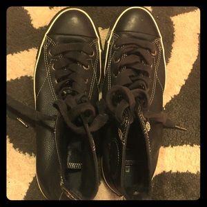 Black leather Converse, UK 8, US women's 10